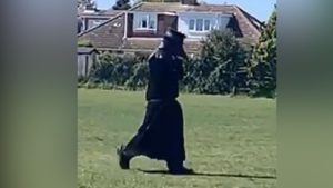 Man dressed up as a black plague doctor
