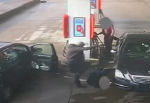PETROL RAMPAGE Terrifying moment thug mows down victim and stamps on his head at petrol station before hero driver saves him