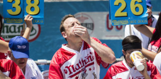 Joey Chestnut sets a new world record for more wieners eaten