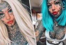 Amber Luke has much of her body filled with ink, now she show us how she looks without them