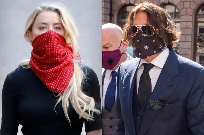 Amber Heard and Johnny Depp arrive separately to a London court on Tuesday.AFP; WireImage