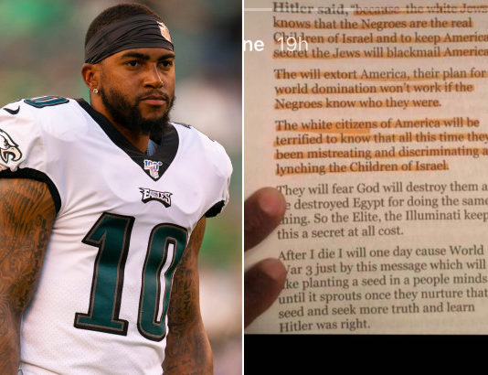 Eagles receiver DeSean Jackson (l.) posted the above message to his Instagram story.Getty Images; Instagram