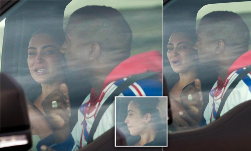 Kim Kardashian seen crying out inside car with Kanye West in Wyoming after his Twitter meltdown