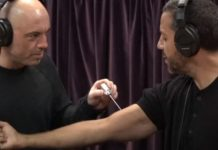 Magician David Blaine has Joe Rogan piercing an ice pick on his podcast as magic trick