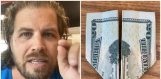 Facebook Roy Fields with screenshots from his video on folding money.