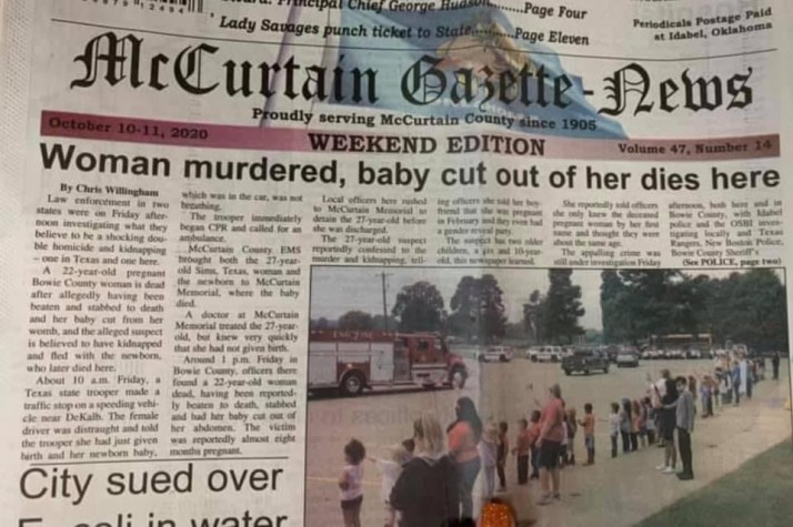 News about the woman murdered and her baby cut out of her womb