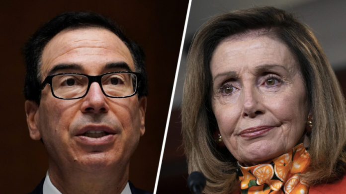 Nancy Pelosi and Steven Mnuchin