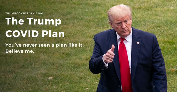 trumpcovidplan.com is an error page website created to mock and troll Donald Trump's coronavirus beating plan
