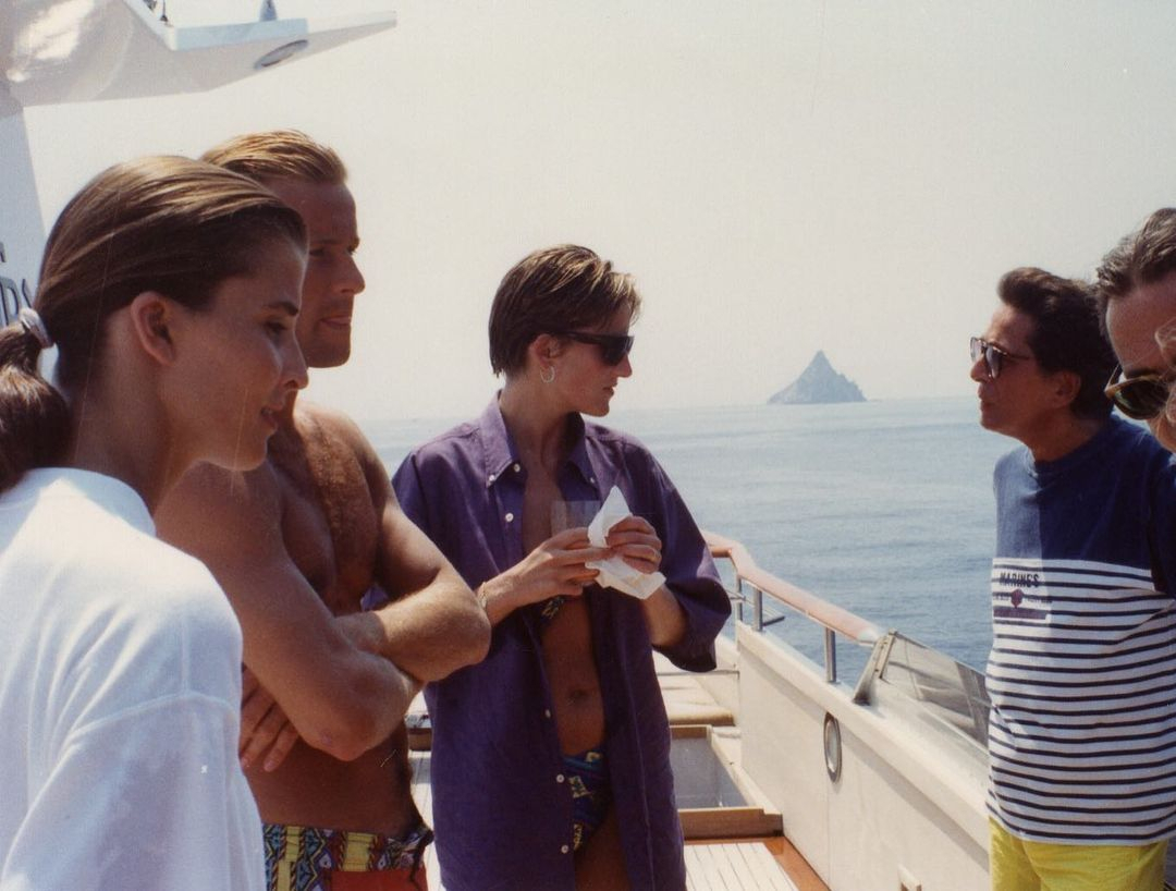 Princess Diana aboard the luxury yacht with her fashion designer friends