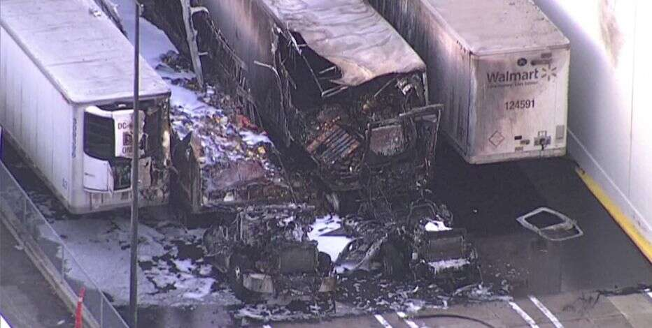 What was left of the trailer after it caught fire outside a Florida Walmart right after opening Black Friday