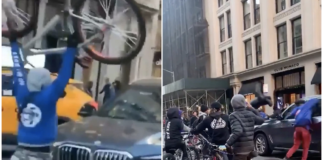 Stills from a video show a group of bicyclists attacking a BMW in NYC. Twitte
