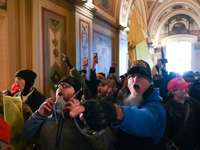 Angy pro-Trump supporters inside the Capitol