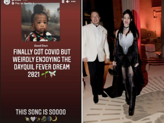 A screenshot of Grimes' Instagram story post as seen on January 9, 2021; Elon Musk and Grimes at the Met Gala in 2018. @Grimes/Instagram; Kevin Tachman/Getty Images for Vogue