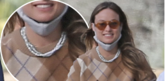 Olivia Wilde wears boyfriend Harry Styles' Éliou pearl necklaces while out and about with the singer. BACKGRID