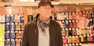 Bruce Willis seen not wearing a mask inside of a Rite Aid BACKGRID