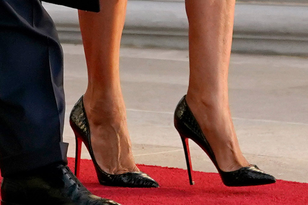 Melania Trump's shoes at the White House farewell ceremony.
