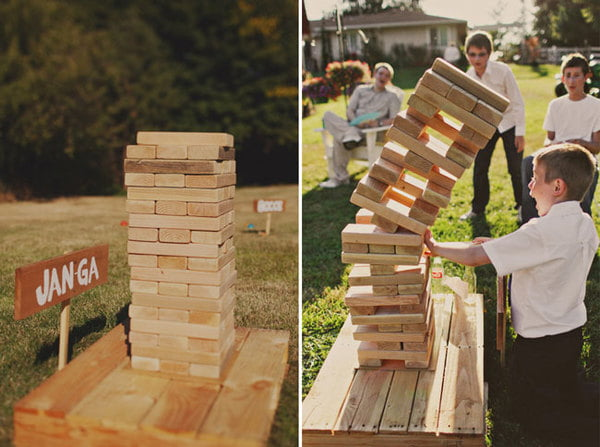 The whole family can play Jenga in the yard with giant blocks.