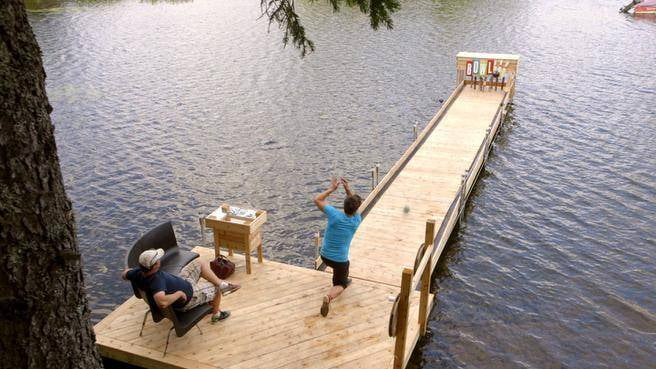 Who wouldn't want to go bowling on a dock?
