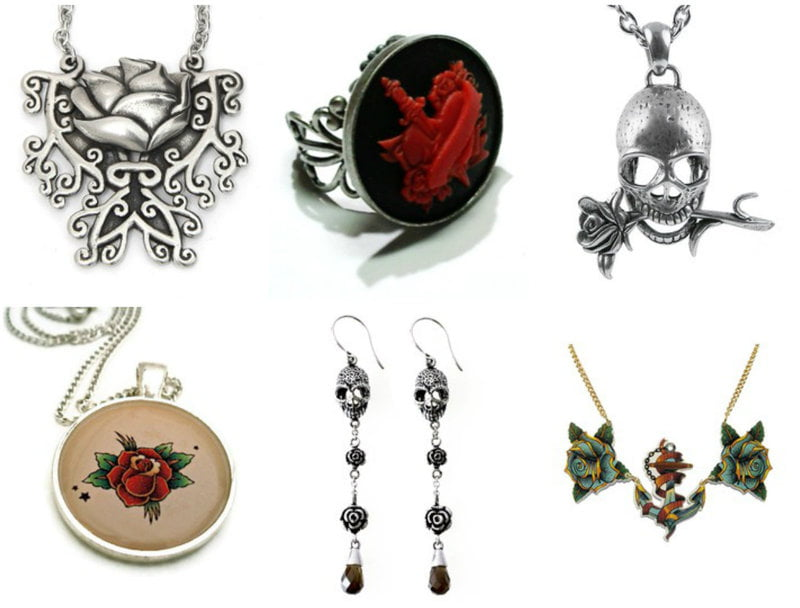Red rose imagery can often be found in tattoo inspired jewelry.
