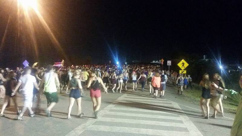 Firefly Music Festival attendees evacuate under the threat of storms.