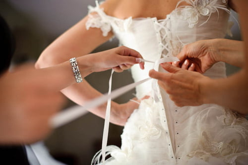 Brides look beautiful in corset dresses.