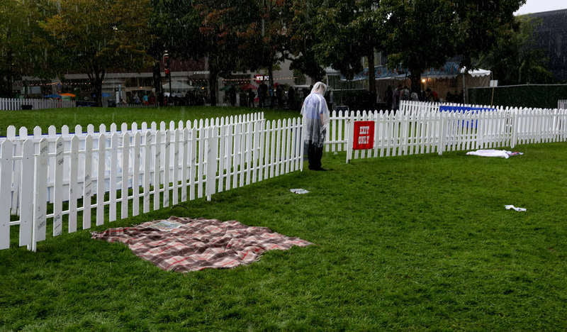 A fenced off beer garden at Bumbershoot 2015