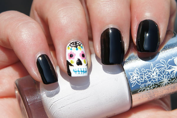 Day of the Dead sugar skull nail polish