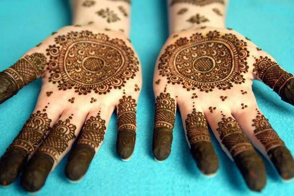 Mehndi, also known as henna tattoo, design on the hands