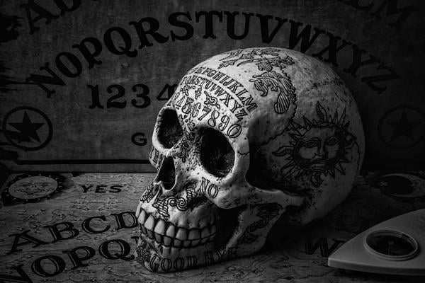 Ouija boards come in a great many styles, and many different ones can be found on clothing.
