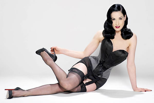 Dita von Teeses in a satin corset. Buy corsets cheap at RebelsMarket.com