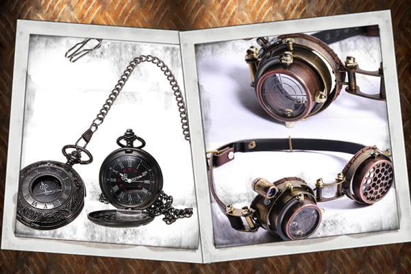 Buy steampunk spats, steampunk pocketwatches, steampunk cufflinks, and steampunk goggles at RebelsMarket.