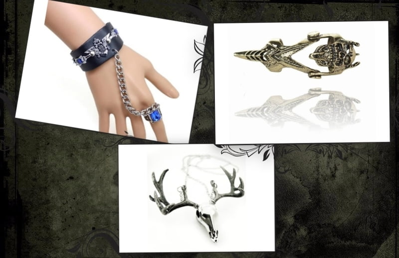 Armor rings, full finger rings, skull jewelry and slave bracelets all make good goth gifts.