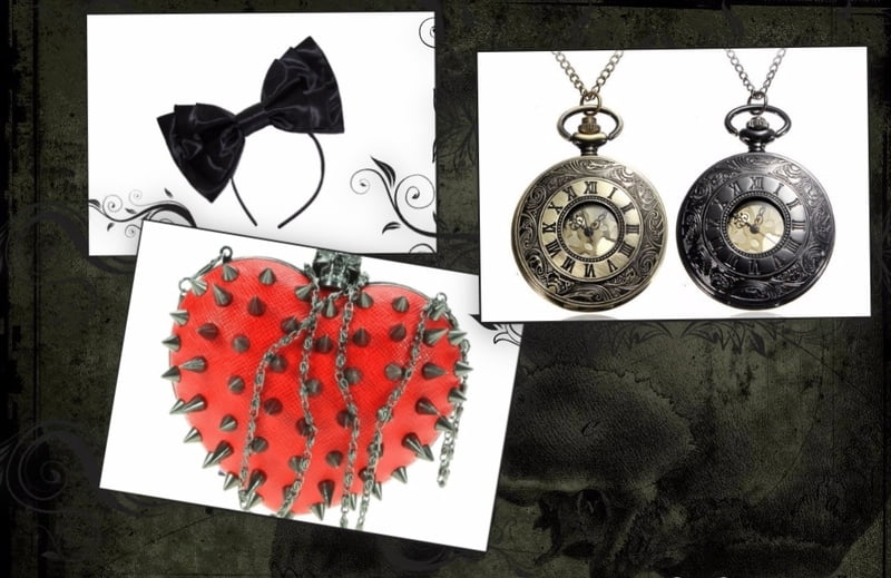 Spiked purses, hair bows, pocket watches, and unique hair clips are great presents.
