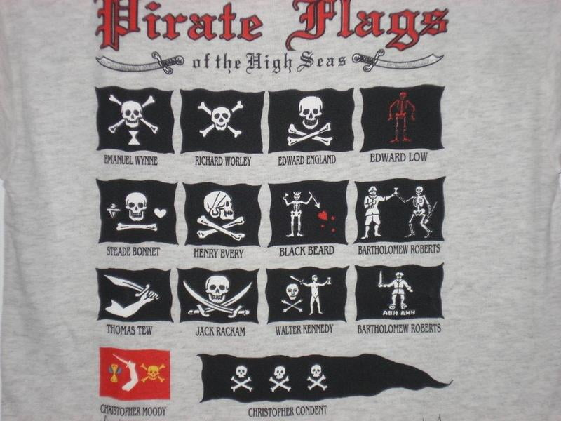 The many pirate flags used by different captains.