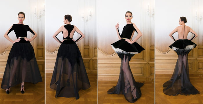 Stephane Rolland incorporates gothic style in his runway looks.