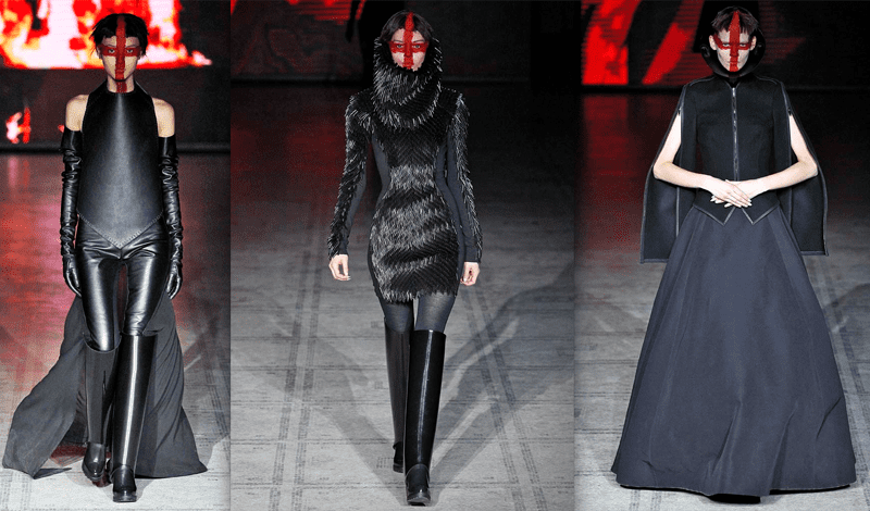Gareth Pugh's runway looks are definitely inspired by gothic fashion.