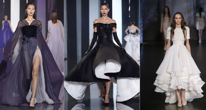 Ralph & Russo dresses incorporate retro styles.