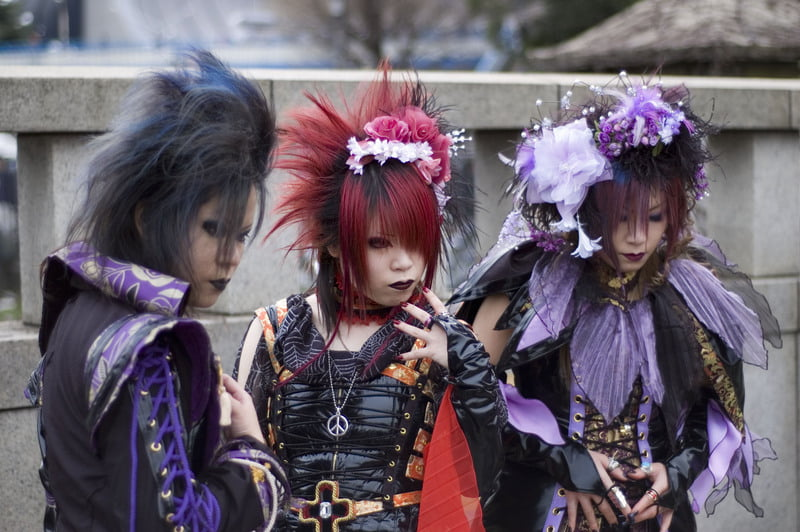 Big hair, coordinated outfits, and bright colors all define Visual Kei.