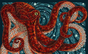 The octopus is a great graphic image for clothing and accessories.