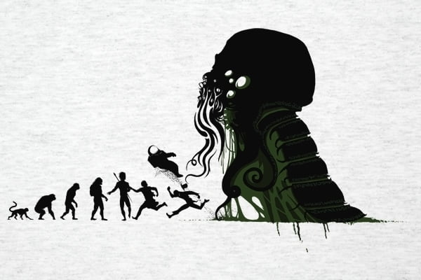 H.P. Lovecraft's creation Cthulhu is a horror icon and shows up on lots of clothing.