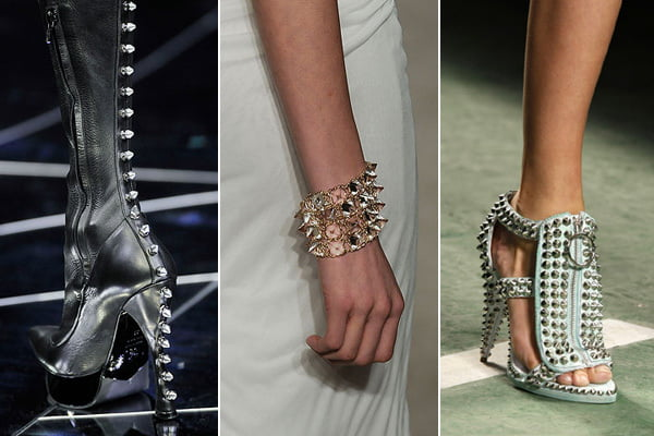 Spiked footwear is very popular right now, with everything from evening stilettos to boots getting the spike treatment.