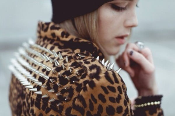 Punk jackets are frequently embellished with spikes and studs.