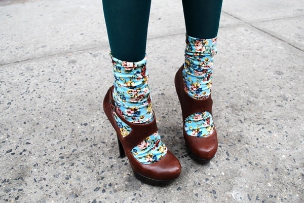 Pairing funky socks with pretty heels keeps your outfits fun and cheeky.