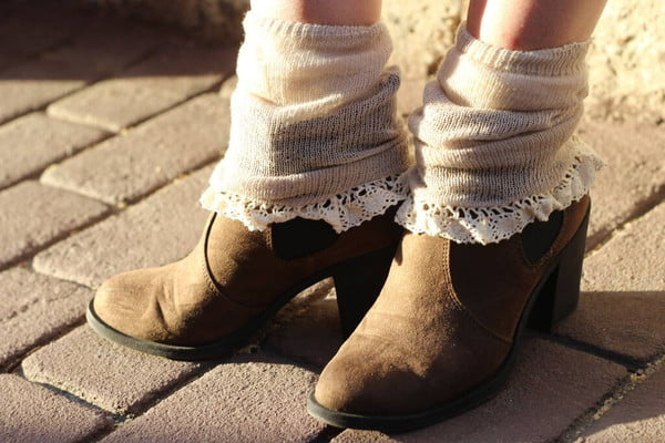 Lacy socks with chunky boots is a favorite look in Autumn, and still so feminine!