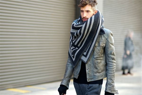 A chunky, unusual scarf can really make a guy's outfit.
