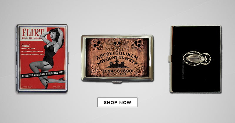 Awesome gift idea - These clever metal cases can hold money, business cards, or cigarettes.