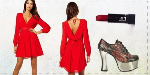 Get colorful for patriotic holidays by mixing a red dress with blue and white accessories.