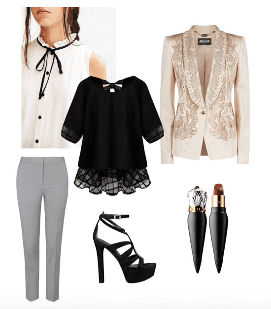 Channel your Prince style with a victorian ruffled blouse, detailed blazer, and tailored pants.