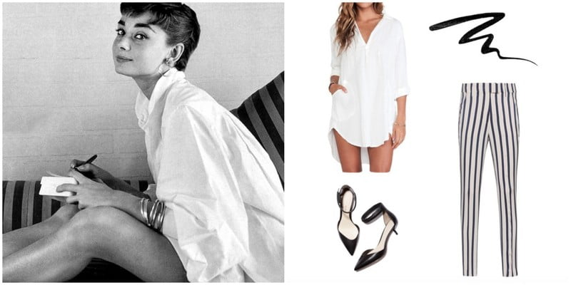 Steal Audrey Hepburn's casual style by wearing an oversized dress shirt with a pair of striped pants.