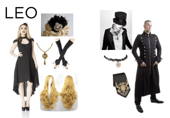 Black and gold goth fashion for the Leo!